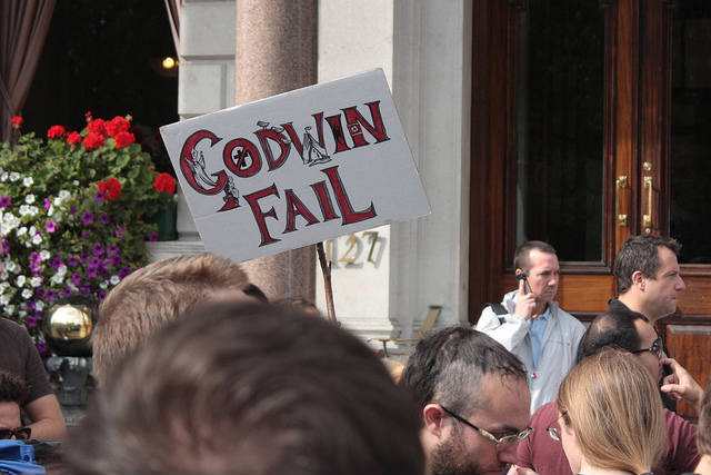 Protestor points out the Pope's ignorance of Godwin's Law. Photo / Zefrog.
