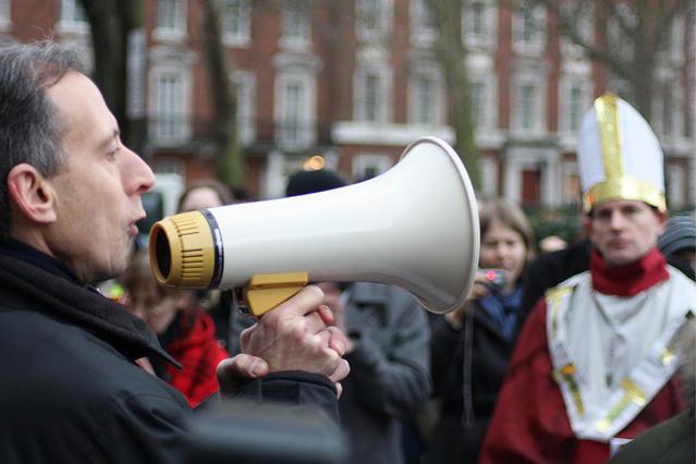Peter Tatchell + megaphone. Photo / Zefrog.