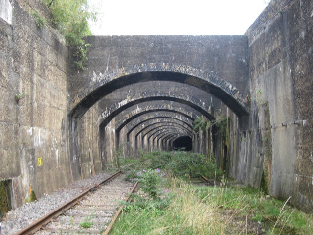 The approach to the tunnel; the buttresses will be retained for Crossrail.