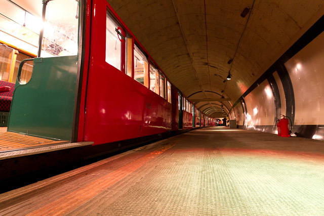 The 1930s Northern line train, at station level.