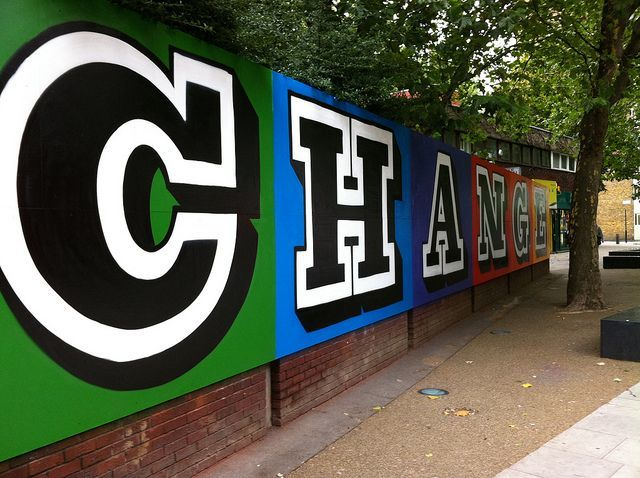 'Change' reads this bold message on Old Street, down the St Luke's end. This recent piece was painted by Eine at no cost, as an appeal against the knife carrying and to commemorate the life of Tom Easton who was stabbed nearby in 2006. Image by M@.