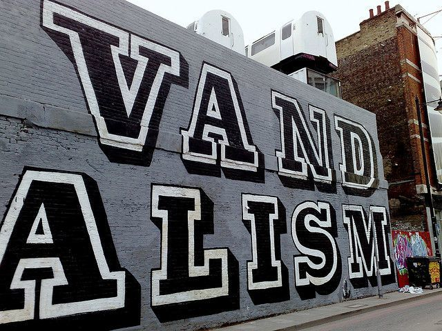 The giant message 'Vandalism' was commissioned for the side of the Village Underground site in Shoreditch. Image by RobOnline under Creative Commons licence.