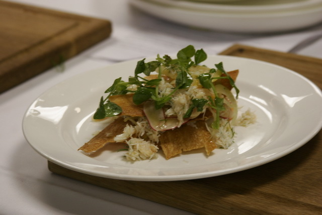 Spiced crab with shrimp and pea shoot salad.
