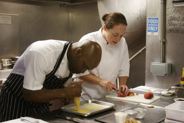 Gary & Alice Hall (pastry chef at the Ivy) work on the blush peach and almond tart.