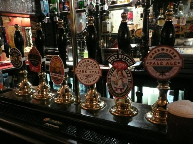 A handsome array. There are a couple more hand pumps out of shot (plus the obligatory cooking lager taps). Picture by Jason B Standing