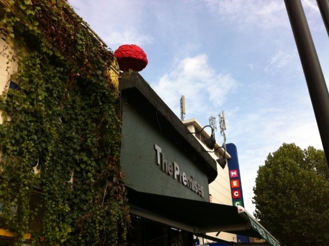 A prominent red mushroom on Hackney Road.