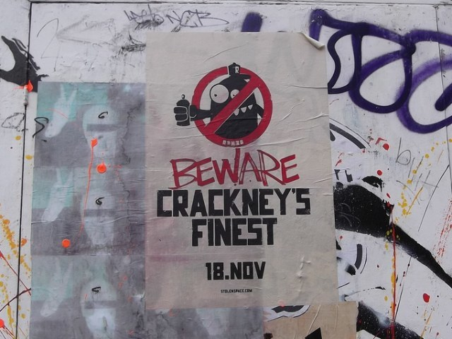 A poster for Crackney's Finest - Ronzo's upcoming solo show at Stolen Space Gallery.
