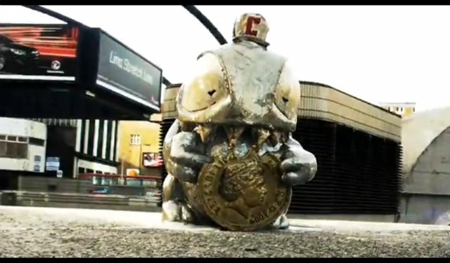 A Credit Crunch Monster on Old Street roundabout.