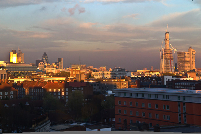 The view at sunset from a rooftop in Lambeth North