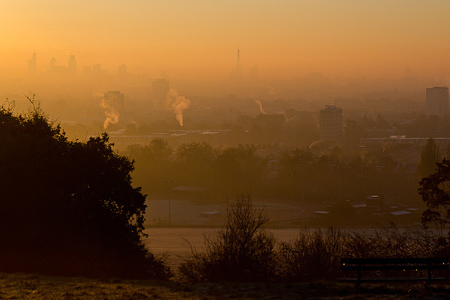 Early morning view from Parliament Hill, on Hampstead Heath.