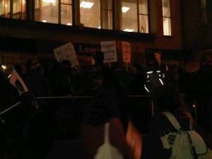 Demonstrators Rush Lewisham Town Hall To Protest Against Cuts