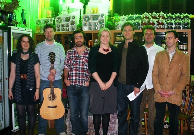 The Tall Tales team L-R: Hannah Jones, James Casey, Robert Hudson, Susannah Pearse, Benet Brandreth, John Finnemore, Mike Westcott