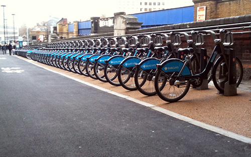 Cycle Hire bikes at Waterloo station
