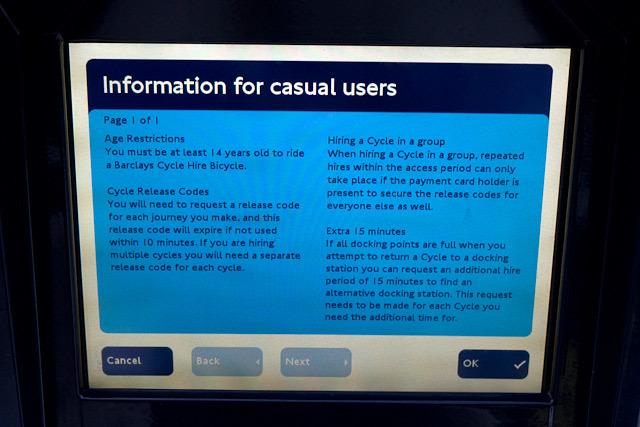 Info for casual users, one of several information screens.