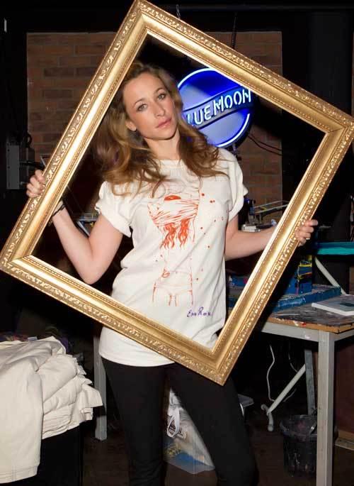Leah Woods models an exclusive Blue Moon Print Club t-shirt