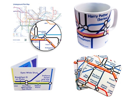 London Underground Film Map: This clever variation on the Tube map shows notable movies filmed near each station, or notable directors and actors associated with the area. The design is available on several items, including mugs, coasters and T-shirts.