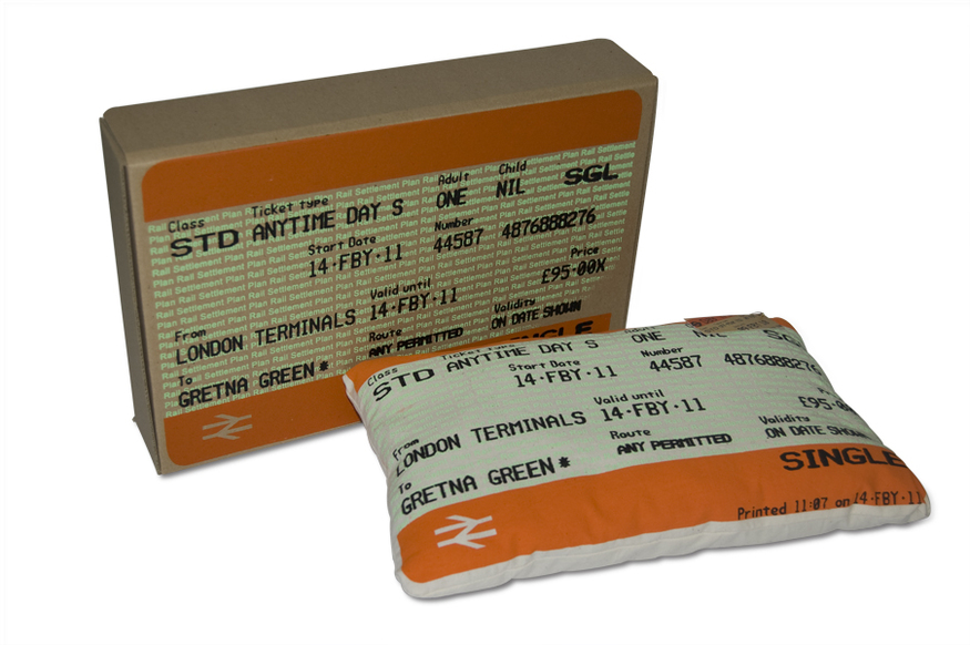 Transport cushions: Designed to look like rail tickets, these novelty cushions come in five designs, including a ticket to Greenwich from 1 January 2000.