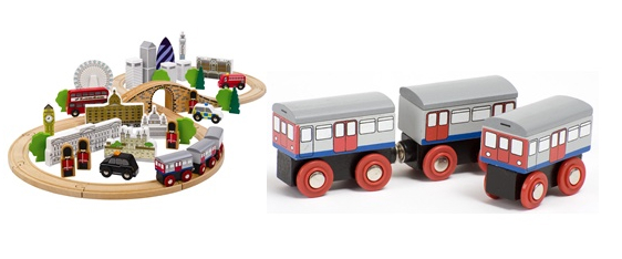 Wooden Toys: Get a traditional toy with a twist in the form of these wooden London playsets. The full London playset includes iconic buildings such as the Gherkin and the London Eye, as well as toy trains and vehicles. Smaller sets containing train carriages and a taxi/bus pair are also available.
