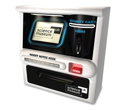 There's no need to wait in line at the cash point with your very own touch screen ATM. It's an ultra-hi-tech money box which recognises coins and automatically records the total amount, with cash card and PIN entry withdrawal for security. Notes can also be inserted, when you're feeling flush! Buy here.