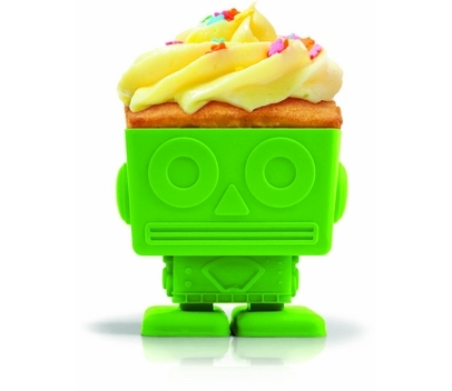 Bake your own robo-treats with these futuristic cupcake moulds. Fill them with cake mixture, place in the oven and stand well back, as an army of Yum Bots marches forth. All four reusable Yum Bot moulds have swivelling heads, so go on – play with your food. Buy here.