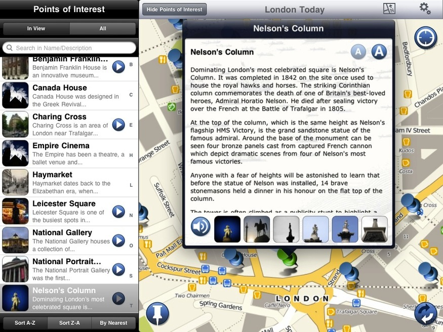 Points of interest around Trafalgar Square. Note audio tracks and images are available for many.