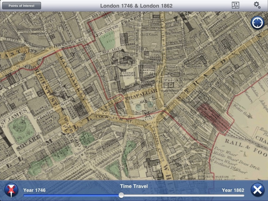 Travelling between 1746 and 1862. Note how many of the roads line up precisely.