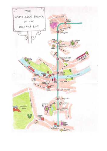 Hand-Drawn Maps Of London: Wimbledon Branch Of The District Line