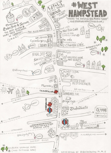Rachel Day Of West Hampstead Sends Us This Exquisite Map Of Her Manor As Well As Pointing Out All The Key Restaurants Bars And Shops