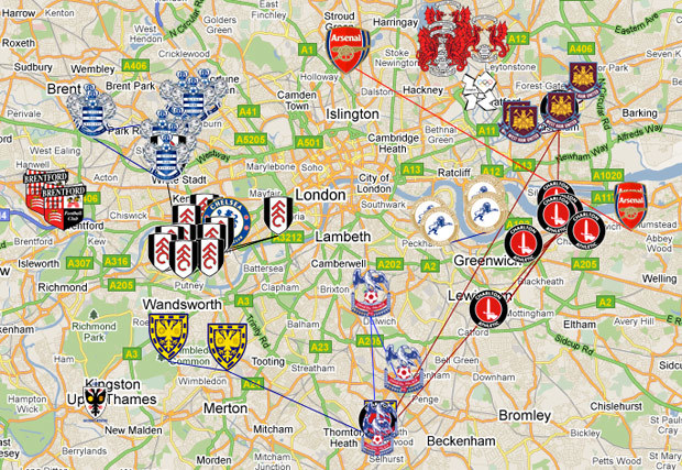 Mapped: London's Moving Football Clubs