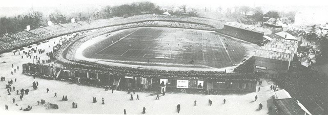 Crystal Palace's first ground, in Crystal Palace Park. This photo shows the 1905 FA Cup final.