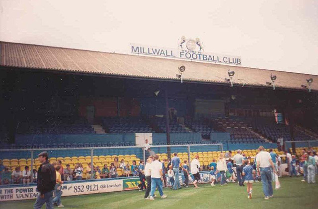 Millwall's The Den, in 1988. Note the pre-Taylor report fencing. Photo / BillyBatty.