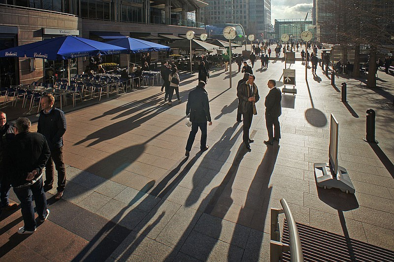 Long shadows at Canary Wharf, by Where The Art Is.