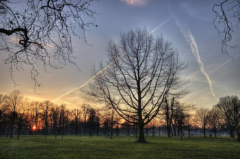 Sunset over Kensington Gardens, by yorkshire stacked.