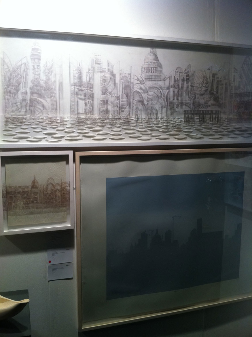 Memory of London and London in rain, Mila Furstova - etching on perspex | St Paul's 4am, Lucy Bainbridge -  gloss screen print
