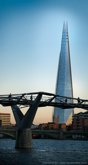 The Shard and the Millennium Bridge.