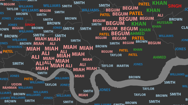 A Map Of London's Commonest Surnames