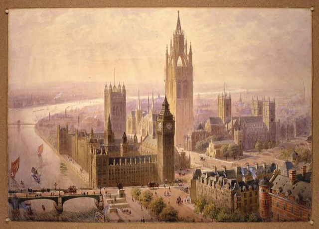 The Imperial Monument Halls and Tower, drawn up in 1904 for a site beside the Houses of Parliament