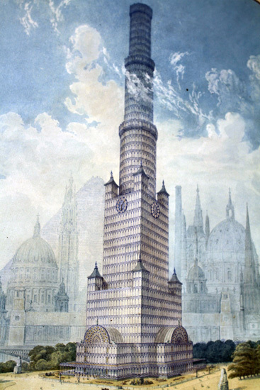 This tower is a reconstituted Crystal Palace, drawn up by an architect in response to a brief for ideas about what to do with Paxton's masterpiece after the Great Exhibition. It would have been placed where the Albert Memorial, opposite the Royal Albert Hall, currently sits, and was projected to be 300m tall.