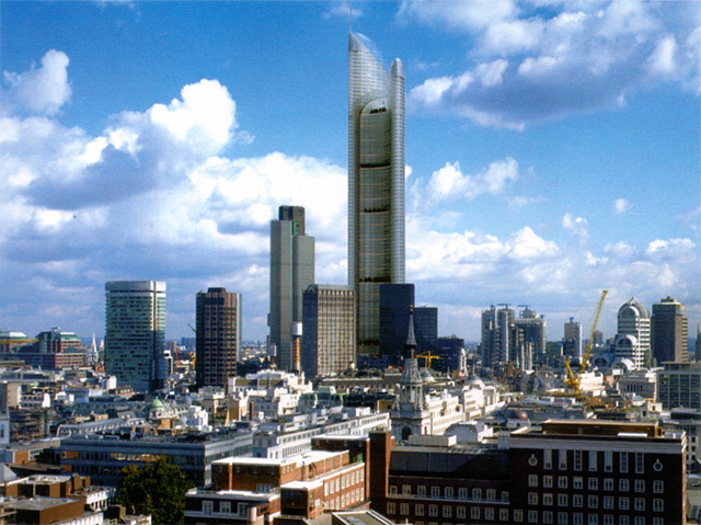 The Millennium Tower, designed for the site of the old Baltic Exchange on St Mary Axe. The tower, which at 386m would have been considerably taller than the Shard, was designed by Foster + Partners, who also designed the Gherkin, which was built on the site.