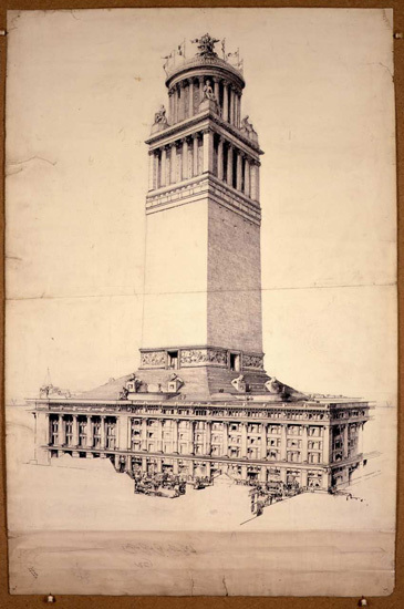 A wildly oversized tower on top of Selfridges, proposed in 1918.