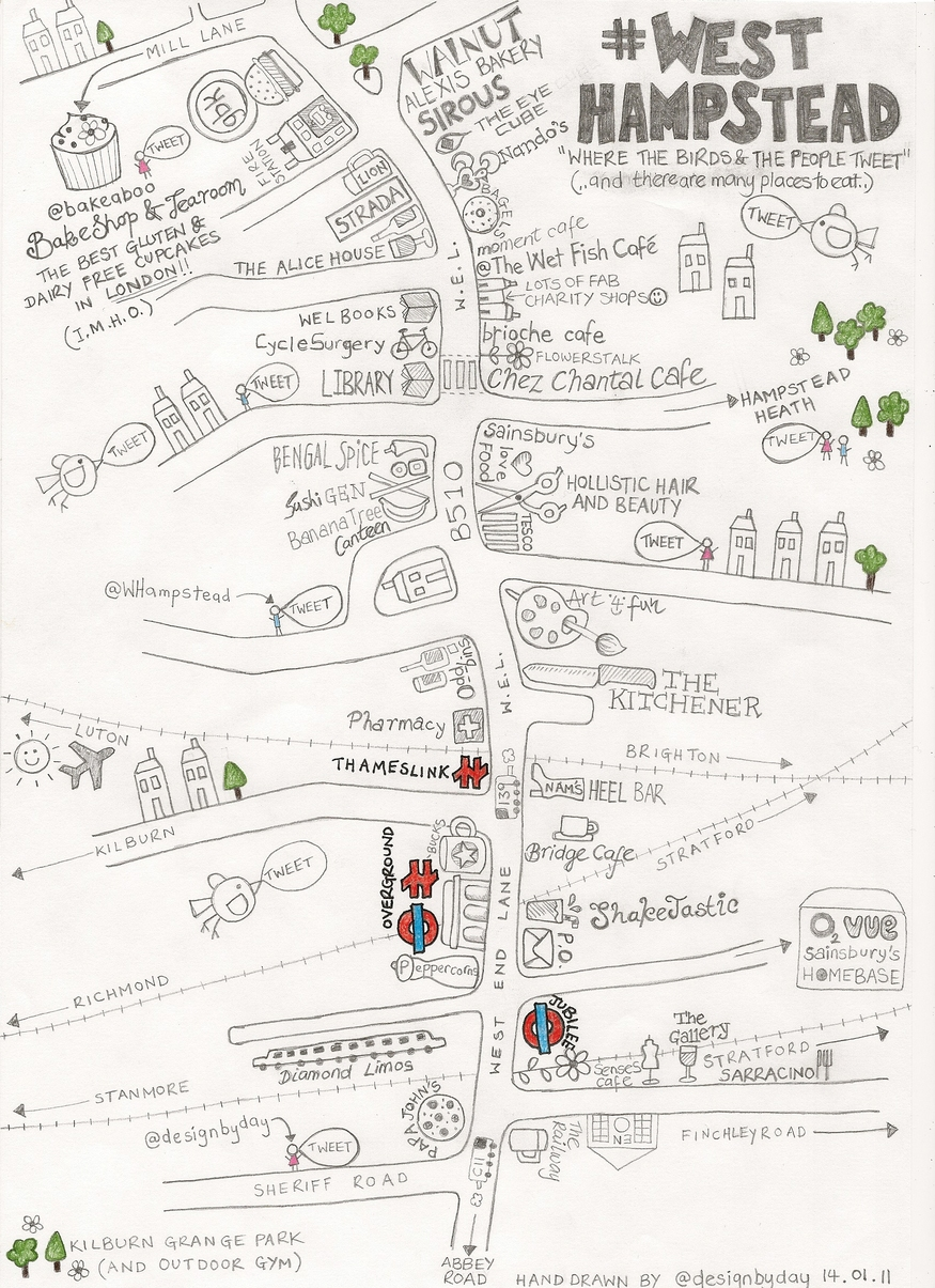 Hand-Drawn Maps Of London: West Hampstead