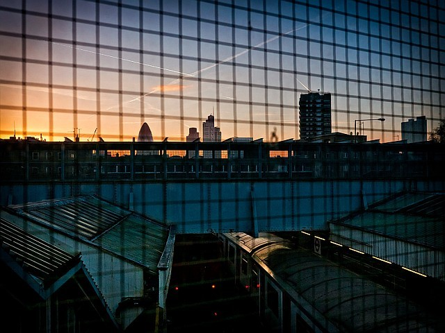 Sky over Whitechapel Station, by louisberk.