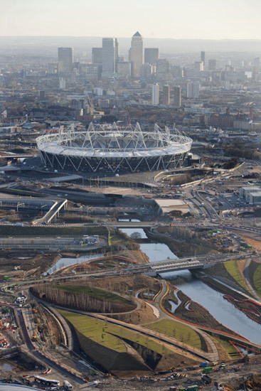 Main stadium with Canary Wharf in the background