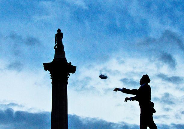 One & Other, by Antony Gormley: Sikh man launches paper aeroplane from the Fourth Plinth, Trafalgar Square, London