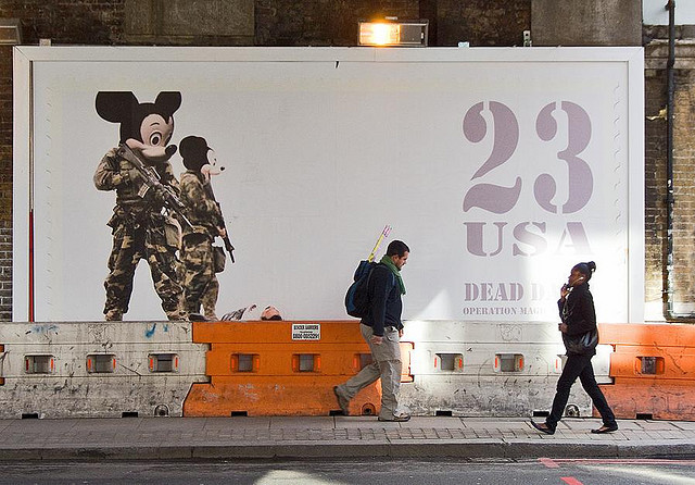 "James Cauty, ""Dead Dad 2"" billboard in Shoreditch, with musical pedestrians"