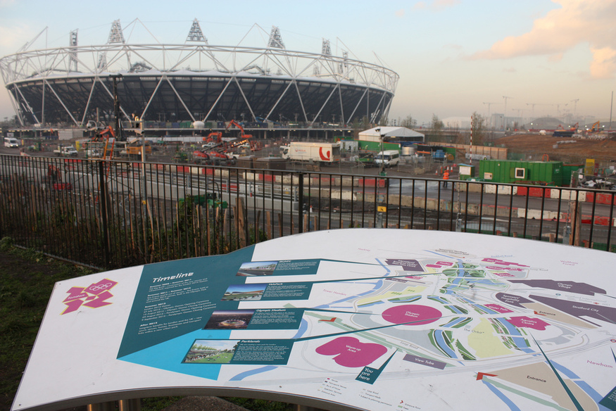 The Olympic Stadium and a map of the site (Nov 2010)