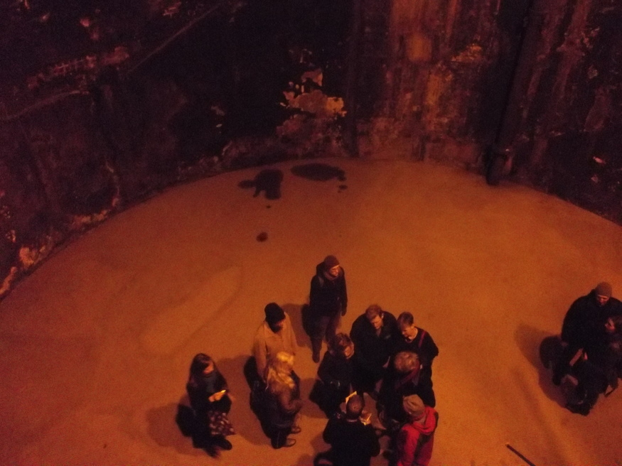 Looking down to the chamber floor.