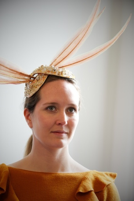 Jewel encrusted sculptural hat from Stephen Jones Millinery.