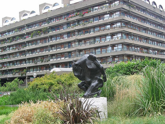The Barbican minotaur , since removed, awaited any would-be Theseus in the maze-like estate.