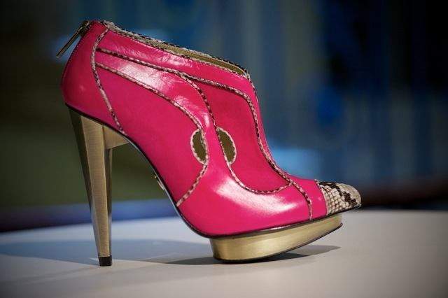 Hot pink shoes by Lara Bohinc with snakeskin detail.